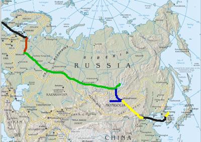 transsibiriske jernbane rute